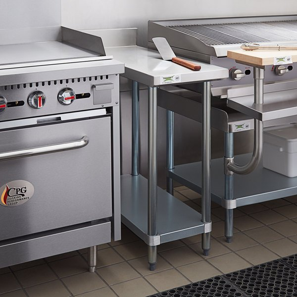 "Regency 36"" x 15"" 18-Gauge 304 Stainless Steel Equipment Filler Table with Backsplash and Galvanized Undershelf Main Image 4"