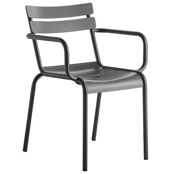 Lancaster Table & Seating Matte Gray Powder Coated Aluminum Outdoor Arm Chair Main Image 1