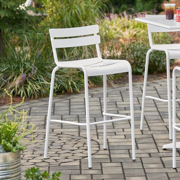 Lancaster Table & Seating White Powder Coated Aluminum Outdoor Barstool Main Image 4