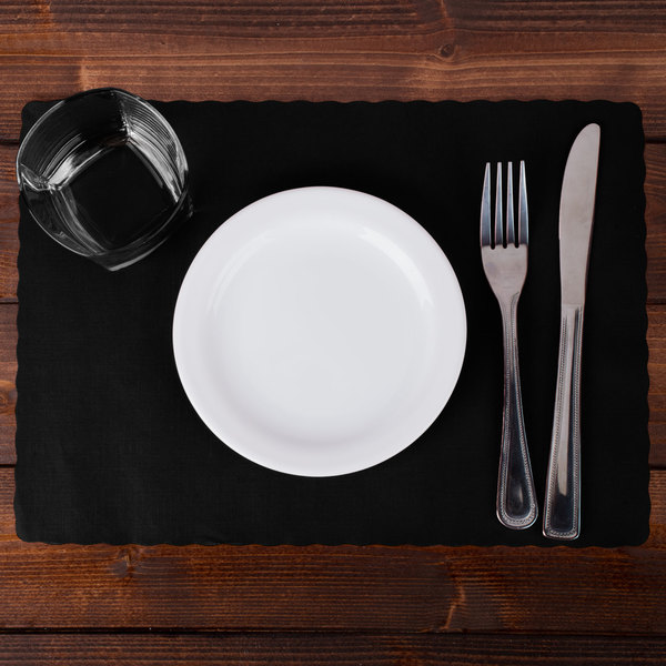 """Hoffmaster 310551 10"""" x 14"""" Black Colored Paper Placemat with Scalloped Edge - 1000/Case Main Image 2"""