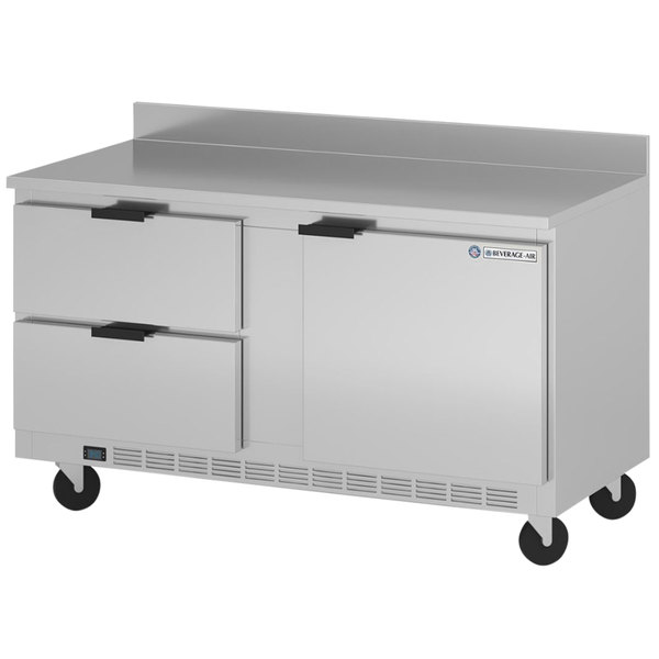 """Beverage-Air WTFD60AHC-2-FIP 60"""" One Door Two Drawer Worktop Freezer with 4"""" Foamed-in-Place Backsplash Main Image 1"""