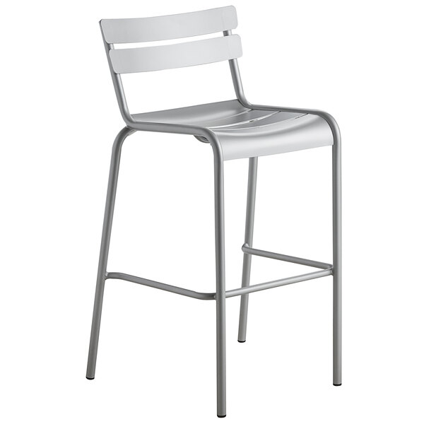 Lancaster Table & Seating Silver Powder Coated Aluminum Outdoor Barstool Main Image 1