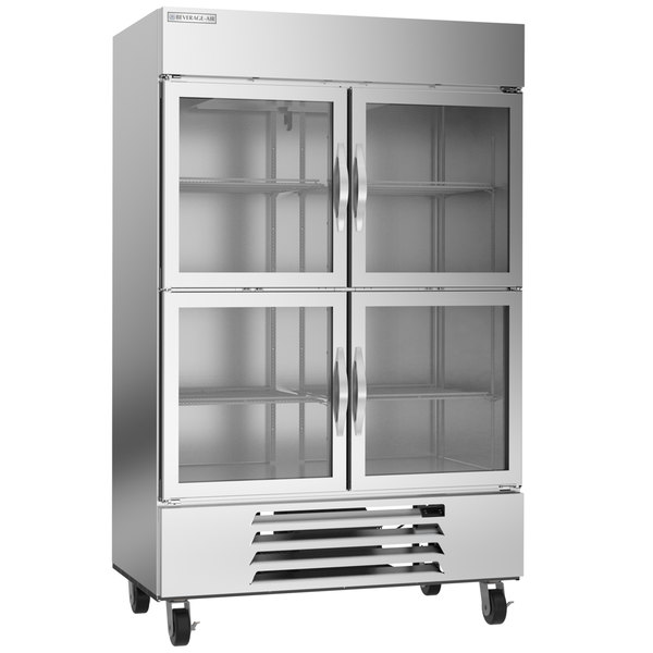 "Beverage-Air HBF49HC-1-HG 52"" Horizon Glass Half Door Bottom Mount Reach-In Freezer Main Image 1"