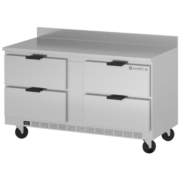 "Beverage-Air WTFD60AHC-4-FIP 60"" Four Drawer Worktop Freezer with 4"" Foamed-in-Place Backsplash Main Image 1"