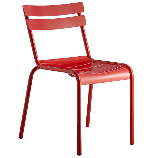 Lancaster Table & Seating Red Powder Coated Aluminum Outdoor Side Chair Main Image 1
