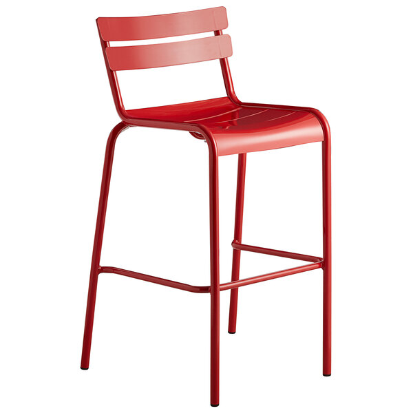 Lancaster Table & Seating Red Powder Coated Aluminum Outdoor Barstool Main Image 1
