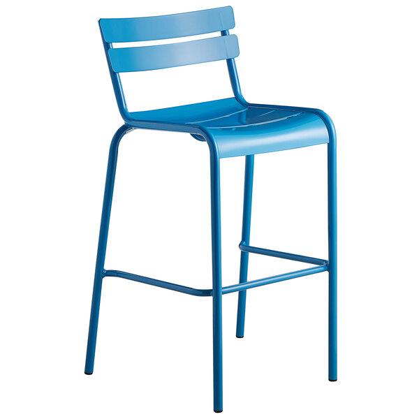 Lancaster Table & Seating Blue Powder Coated Aluminum Outdoor Barstool Main Image 1