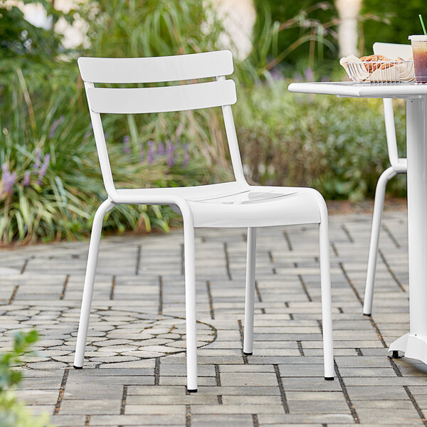 Lancaster Table & Seating White Powder Coated Aluminum Outdoor Side Chair Main Image 4