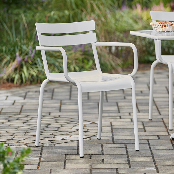 Lancaster Table & Seating White Powder Coated Aluminum Outdoor Arm Chair Main Image 4
