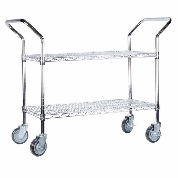 """Regency 24"""" x 36"""" Two Shelf Chrome Heavy Duty Utility Cart"""
