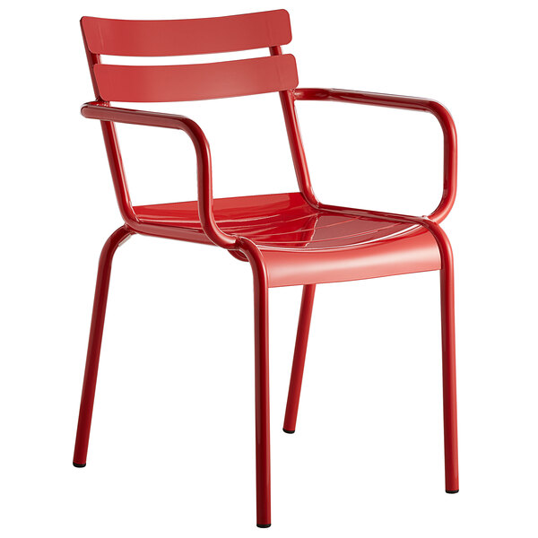 Lancaster Table & Seating Red Powder Coated Aluminum Outdoor Arm Chair Main Image 1