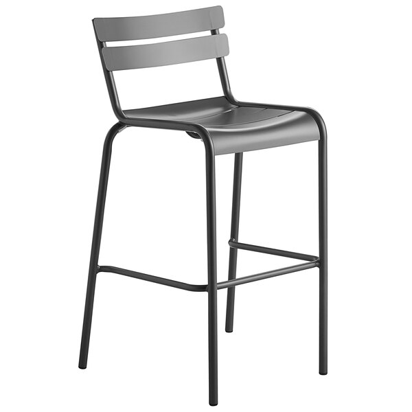 Lancaster Table & Seating Matte Gray Powder Coated Aluminum Outdoor Barstool Main Image 1