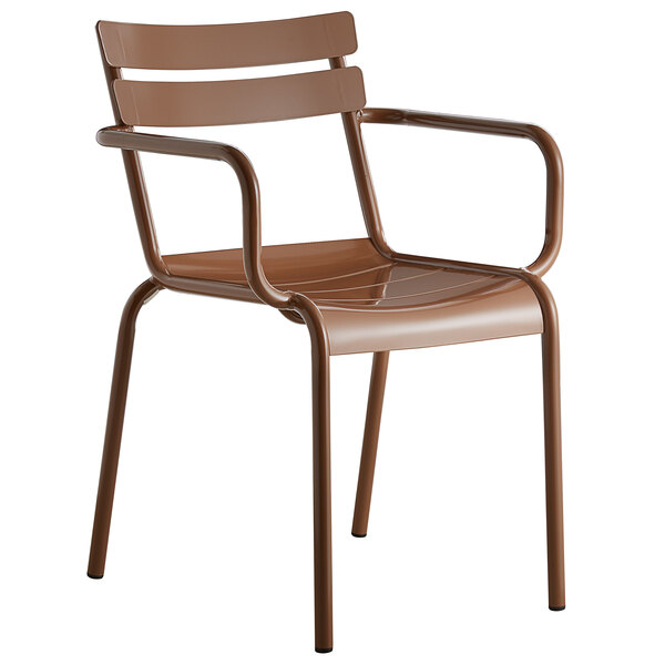 Lancaster Table & Seating Brown Powder Coated Aluminum Outdoor Arm Chair Main Image 1