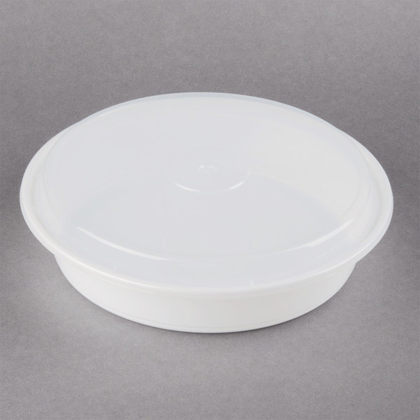 Newspring NC-948 48 oz. White 9 inch x 1 3/4 inch VERSAtainer Round Microwavable Container with Lid  - 150/Case
