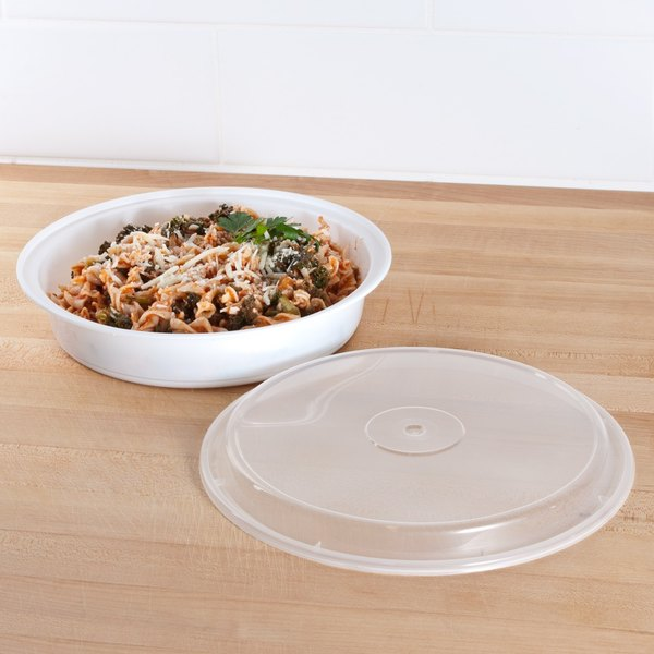 """Pactiv Newspring NC948 48 oz. White 9"""" x 1 3/4"""" VERSAtainer Round Microwavable Container with Lid - 150/Case Main Image 5"""
