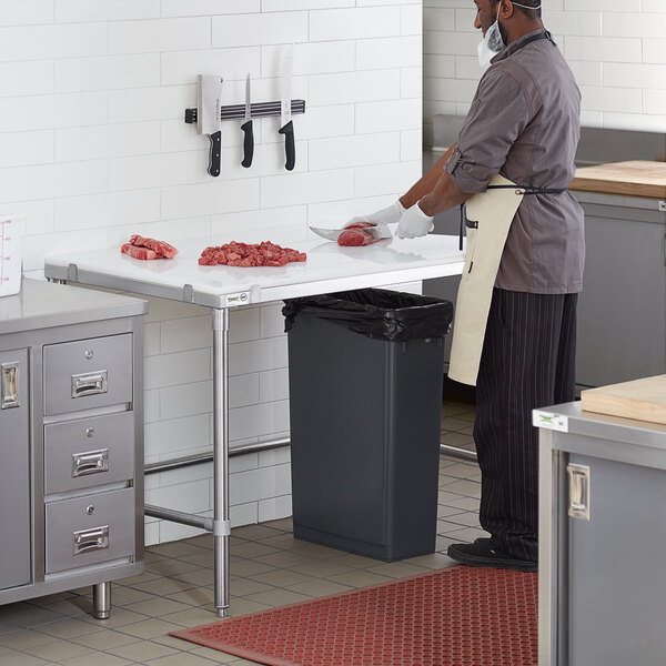 """Regency 30"""" x 48"""" 14-Gauge 304 Stainless Steel Poly Top Table with 3/4"""" Thick Poly Top and Open Base Main Image 4"""