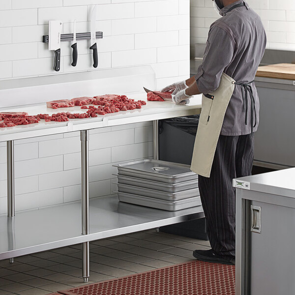 """Regency 30"""" x 96"""" 14-Gauge 304 Stainless Steel Poly Top Table with 3/4"""" Thick Poly Top, Undershelf, and 6"""" Backsplash Main Image 5"""