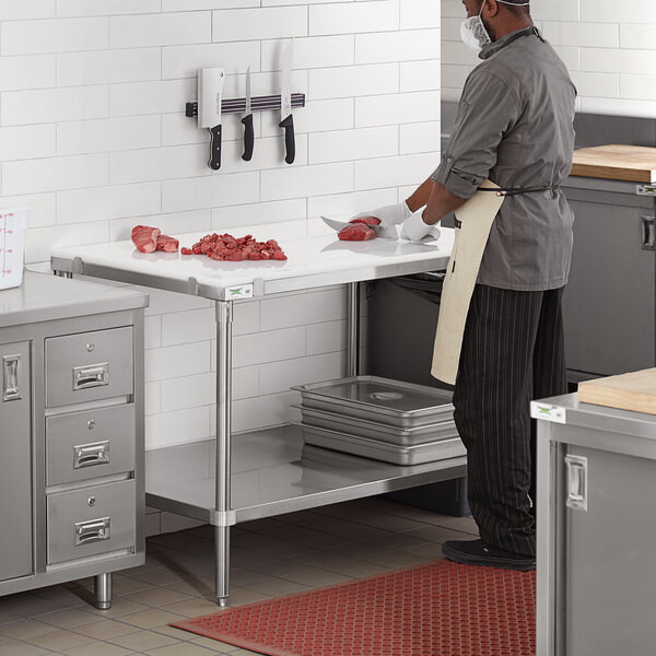 """Regency 30"""" x 48"""" 14-Gauge 304 Stainless Steel Poly Top Table with 3/4"""" Thick Poly Top and Undershelf Main Image 4"""