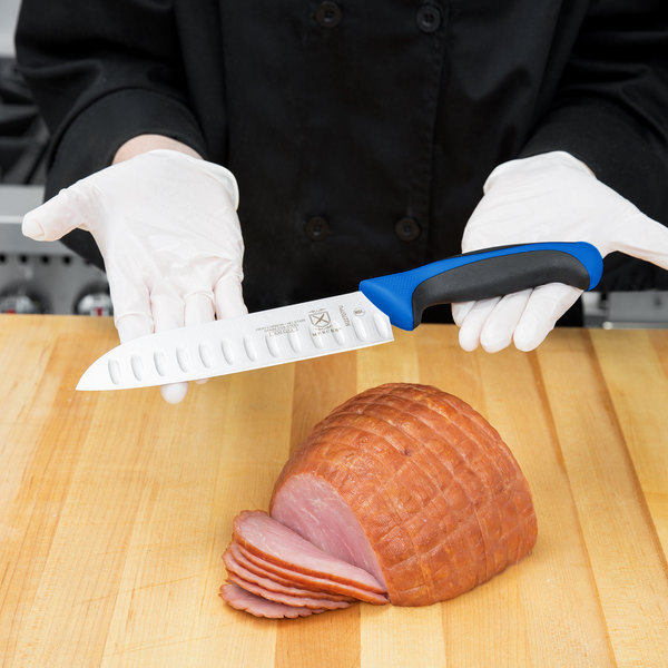 "Mercer Culinary M22707BL Millennia 7"" Granton Edge Santoku Knife with Blue Handle"
