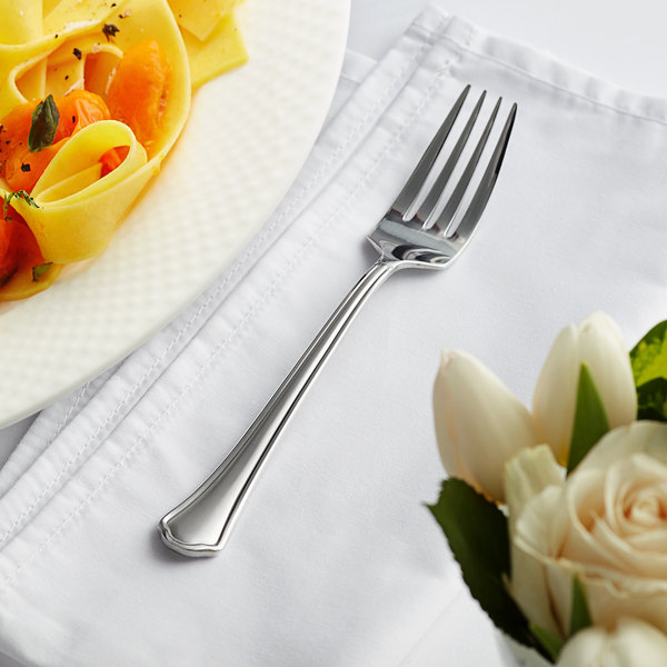 """Acopa Sienna 7 1/4"""" 18/0 Stainless Steel Heavy Weight Dinner Fork - 12/Case Main Image 3"""