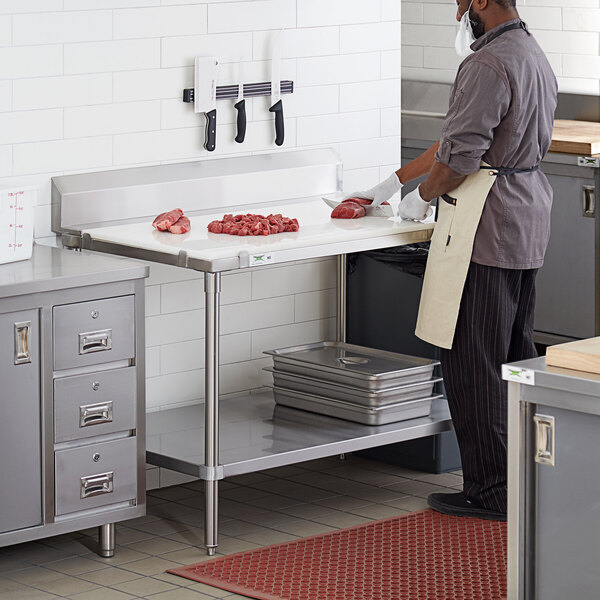 """Regency 30"""" x 48"""" 14-Gauge 304 Stainless Steel Poly Top Table with 3/4"""" Thick Poly Top, Undershelf, and 6"""" Backsplash Main Image 5"""