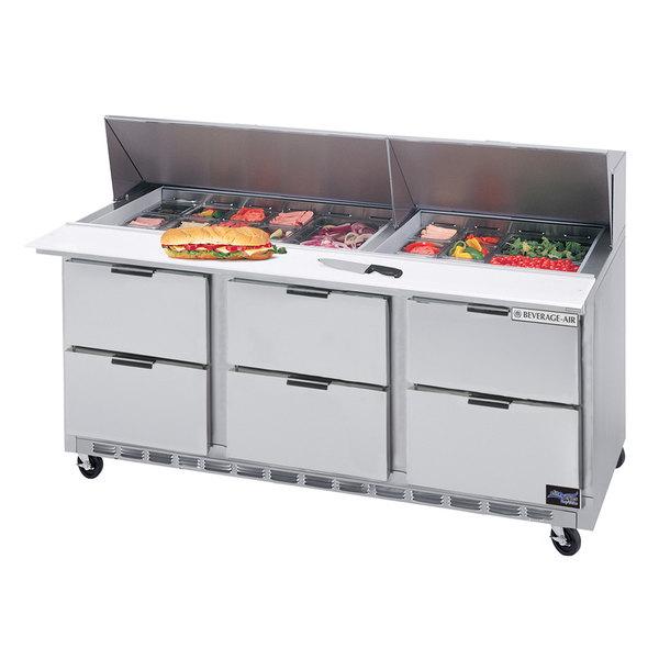 "Beverage-Air SPED72HC-12M-6 Elite Series 72"" 6 Drawer Mega Top Refrigerated Sandwich Prep Table"