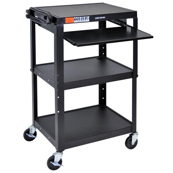 """Luxor AVJ42KB Black Mobile Computer Cart / Workstation 24"""" x 18"""" with Keyboard Shelf"""