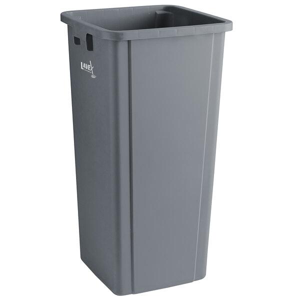 Lavex Janitorial 23 Gallon Gray Square Trash Can