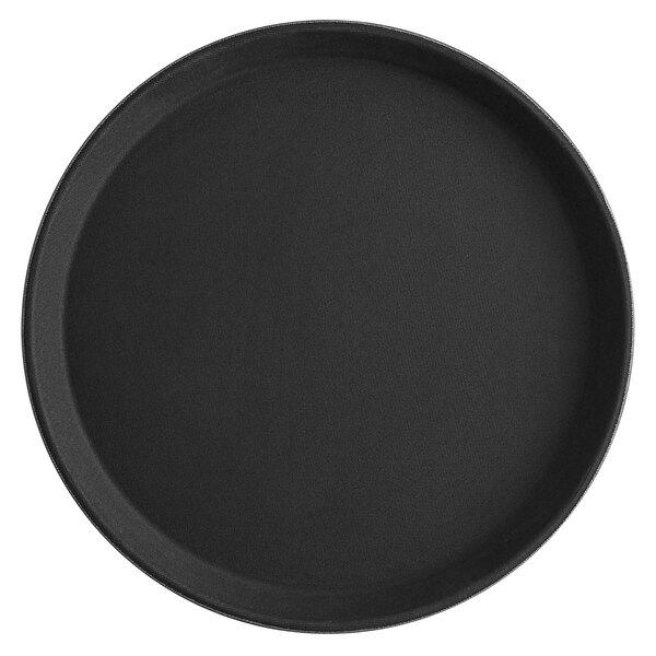 Choice 11 inch Black Round Fiberglass Non-Skid Serving Tray