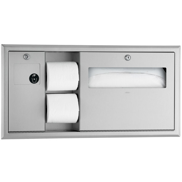 Bobrick B-3091 ClassicSeries Horizontal Recessed Toilet Seat-Cover and Toilet Tissue Dispenser with Sanitary Napkin Disposal - Left Main Image 1