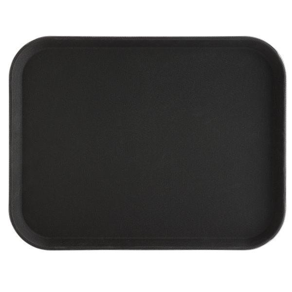 Choice 14 inch x 18 inch Black Rectangle Fiberglass Non-Skid Serving Tray