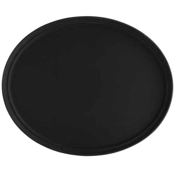 Choice 27 inch x 22 inch Black Oval Fiberglass Non-Skid Serving Tray
