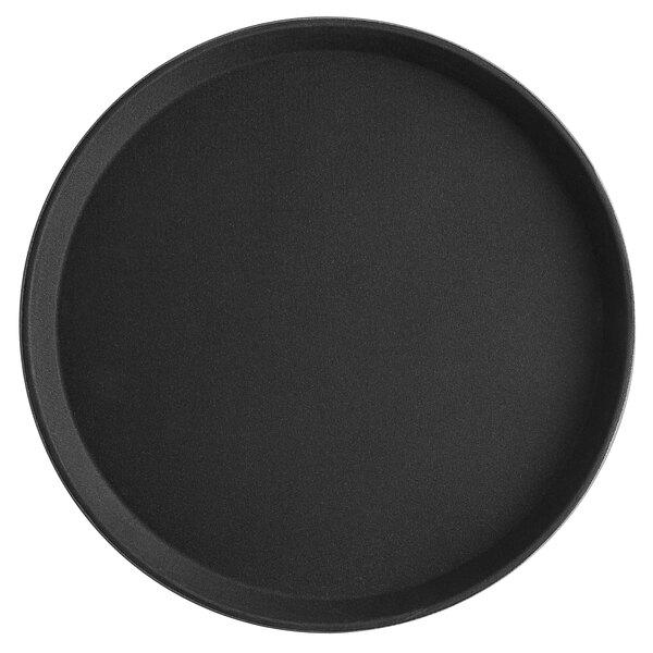 Choice 14 inch Black Round Fiberglass Non-Skid Serving Tray