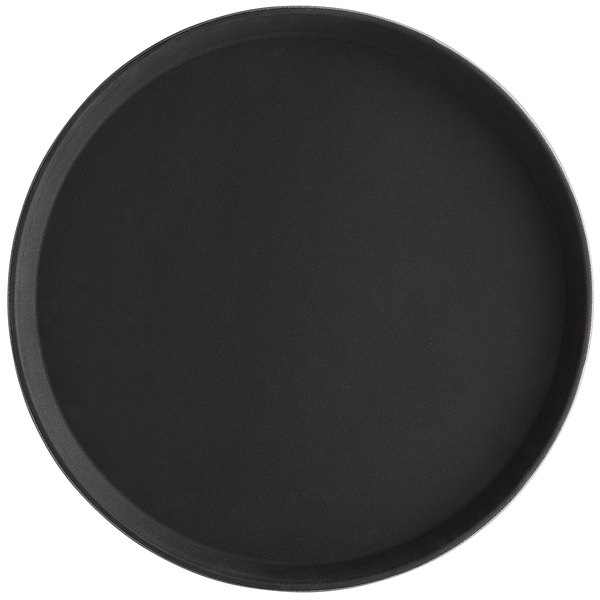 Choice 16 inch Black Round Fiberglass Non-Skid Serving Tray