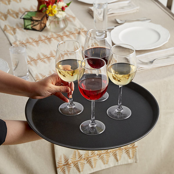 "Choice 16"" Black Round Fiberglass Non-Skid Serving Tray Main Image 2"