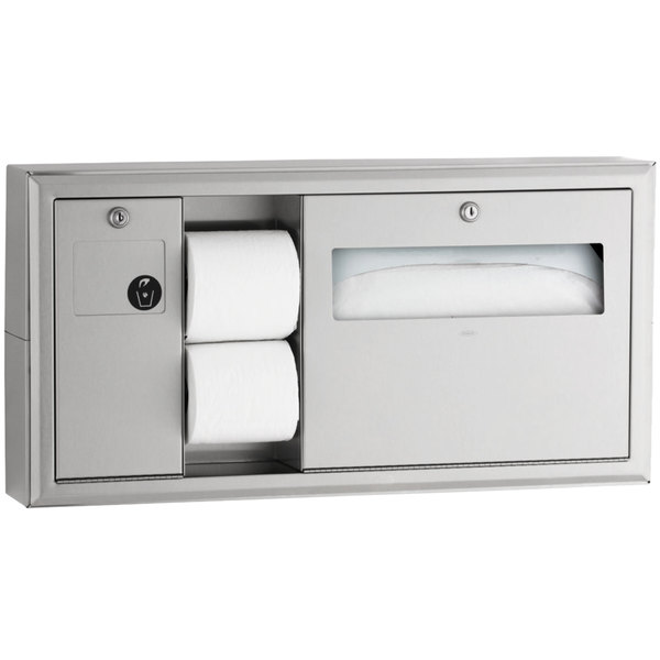 Bobrick B-30919 ClassicSeries Horizontal Surface Mounted Toilet Seat-Cover and Toilet Tissue Dispenser with Sanitary Napkin Disposal - Left Main Image 1