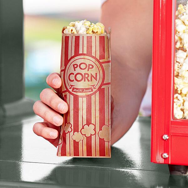 "Carnival King 3"" x 1 1/2"" x 7"" 0.6 oz. Kraft Popcorn Bag - 1000/Case Main Image 2"