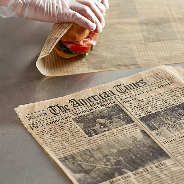 "Choice 16"" x 12"" Kraft Newspaper Print Deli Sandwich Wrap Paper - 2000/Case Main Image 2"