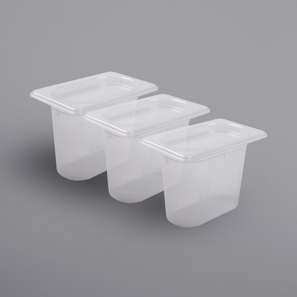 "San Jamar MP19RD ModPan 1/9 Size 5 1/8"" Deep Translucent Food Pan with Lid - 3/Pack"