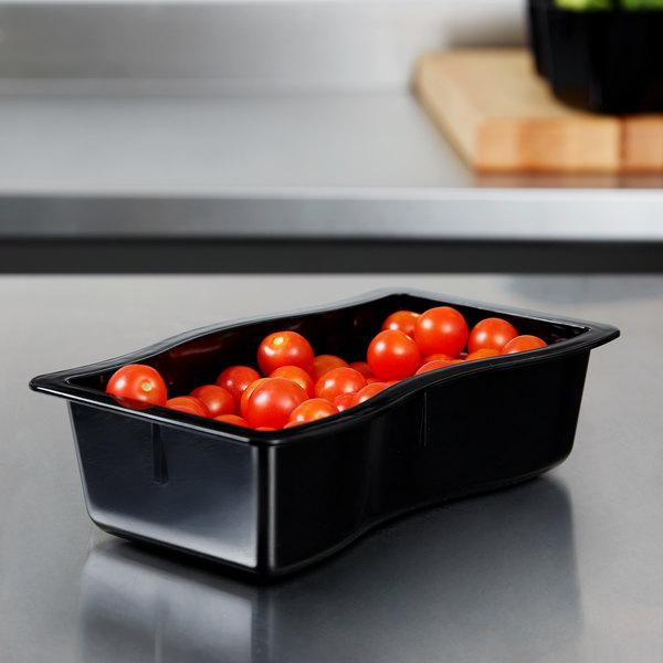 Carlisle 698403 Modular Displayware 1/2 Size Black Wavy Edge Food Pan