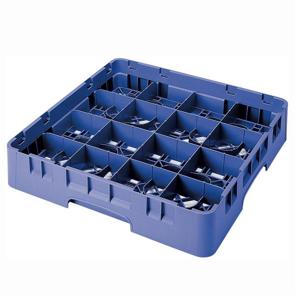 "Cambro 16S434168 Camrack 5 1/4"" High Customizable Blue 16 Compartment Glass Rack"