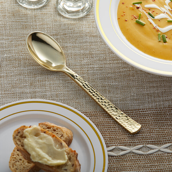 """Gold Visions 6 3/4"""" Hammersmith Heavy Weight Gold Plastic Spoon - 400/Case Main Image 2"""