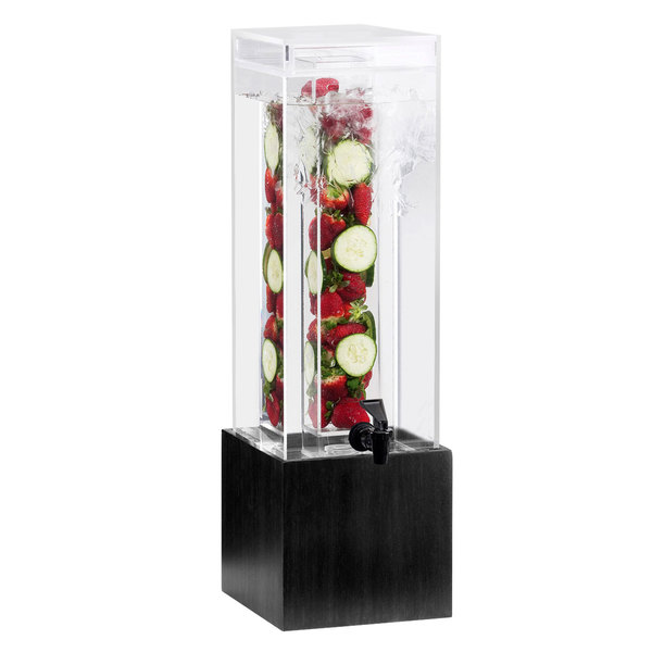 "Cal-Mil 1527-3INF-96 3 Gallon Midnight Bamboo Infusion Beverage Dispenser - 8 1/4"" x 9 3/4"" x 26 3/4"""
