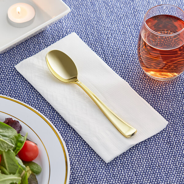 """Gold Visions 6 3/4"""" Classic Heavy Weight Gold Plastic Spoon - 25/Pack Main Image 2"""