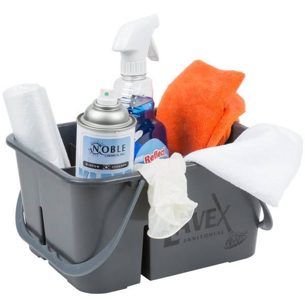 Lavex Janitorial Plastic Cleaning Caddy, 4-Compartment Gray, 11.5L x 9W Main Image 3