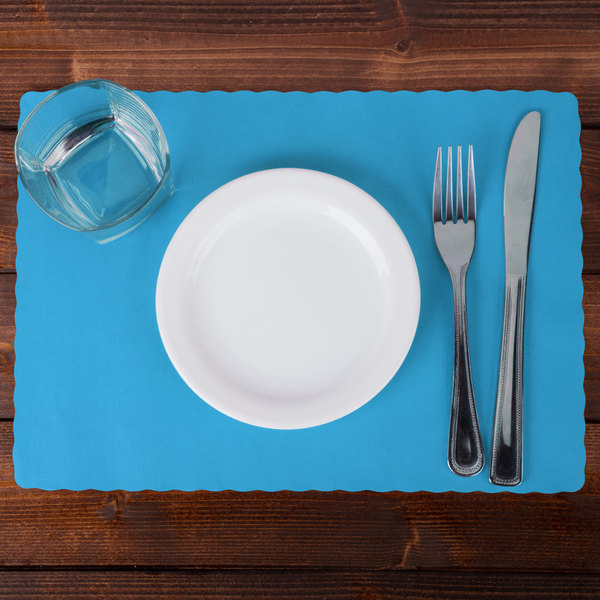 "Hoffmaster 310554 10"" x 14"" Marina (Sky Blue) Colored Paper Placemat with Scalloped Edge - 1000/Case Main Image 2"