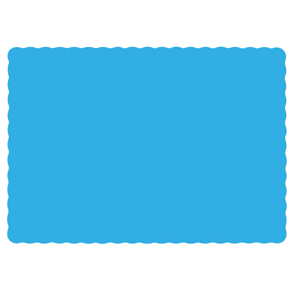 "Hoffmaster 310554 10"" x 14"" Marina (Sky Blue) Colored Paper Placemat with Scalloped Edge - 1000/Case"