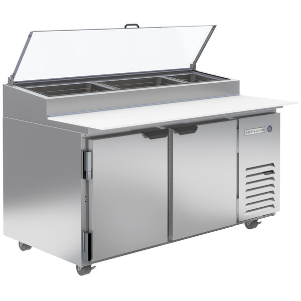 """Beverage-Air DP60HC-CL 60"""" 2 Door Clear Lid Refrigerated Pizza Prep Table Main Image 1"""