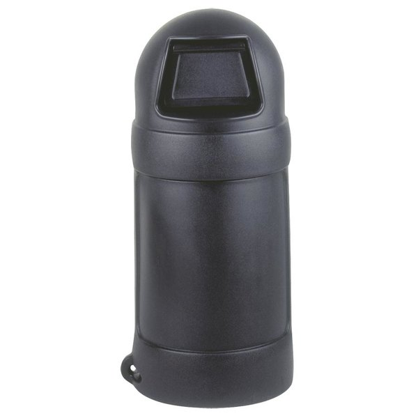 Continental 1305BK 18 Gallon Black Round Top Waste Receptacle - No Liner