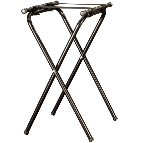 American Metalcraft CTS31 31 inch Black Chrome Deluxe Folding Tray Stand